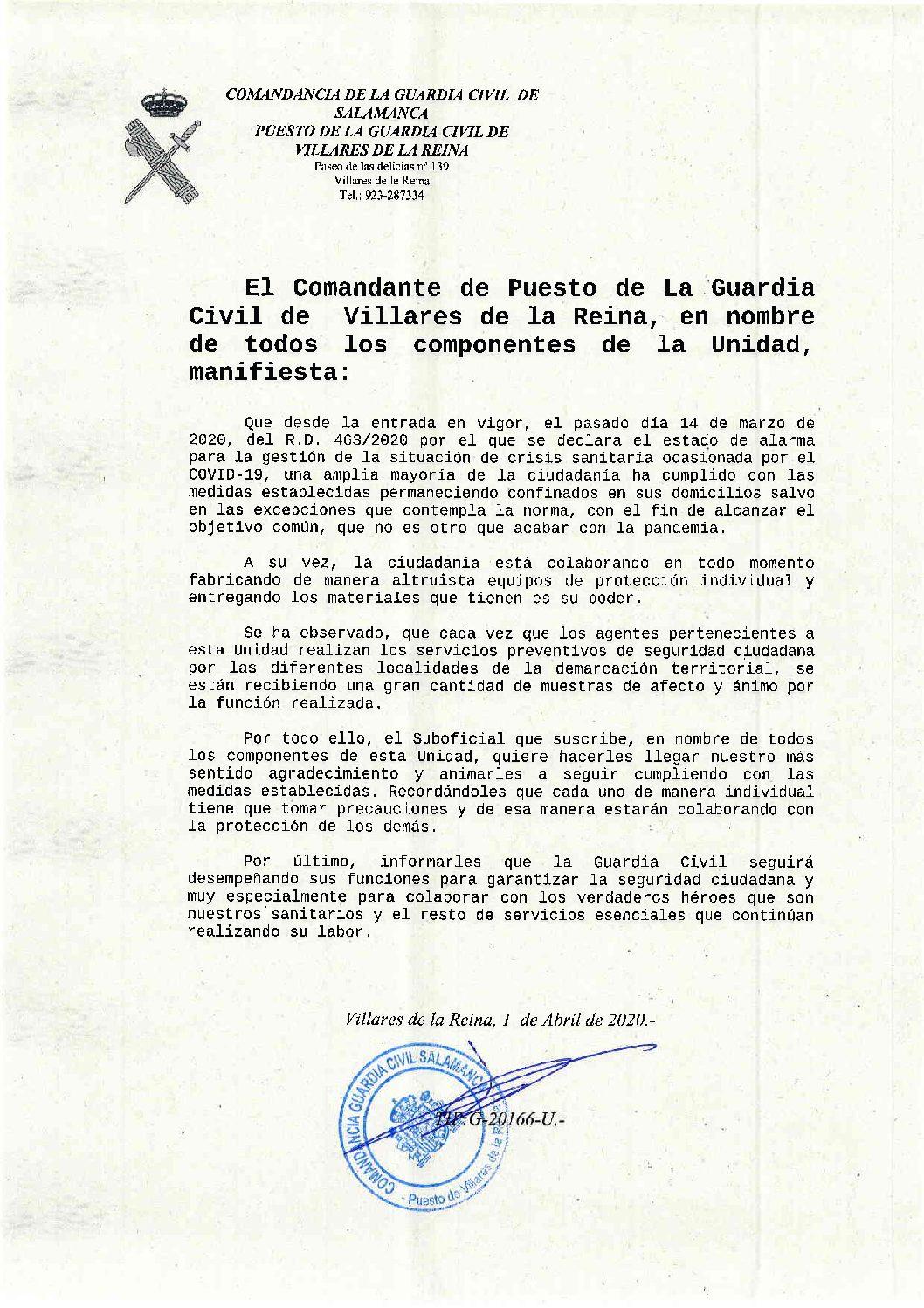 Agradecimiento de la Guardia Civil a la ciudadanía