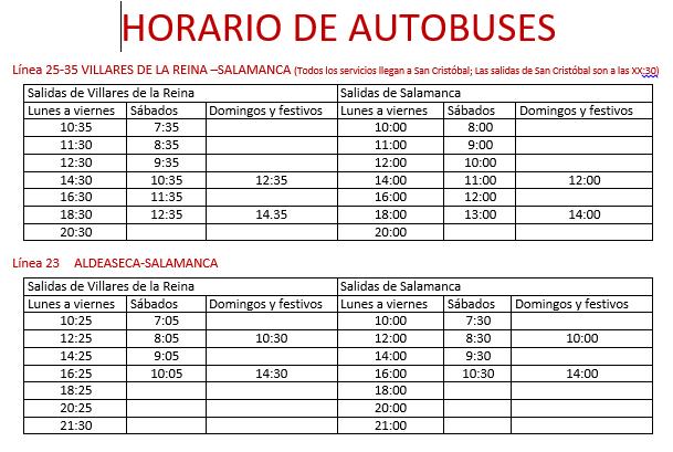 Nuevos horarios del servicio de autobuses