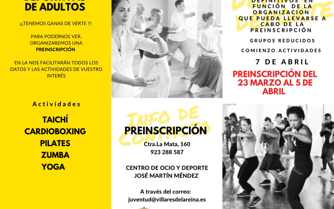 Abierta la preinscripción de actividades deportivas para adultos y para Educación Infantil y Primaria