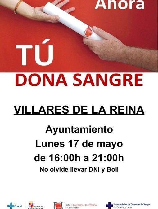 Campaña de donación de sangre para el día 17 de mayo