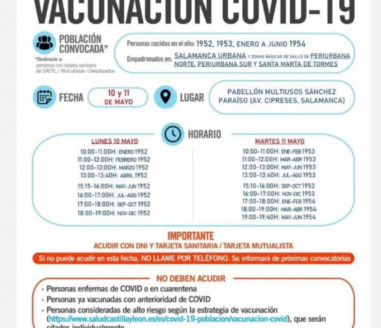 Vacunación para los nacidos en 1952, 1953 y de enero a junio de 1954