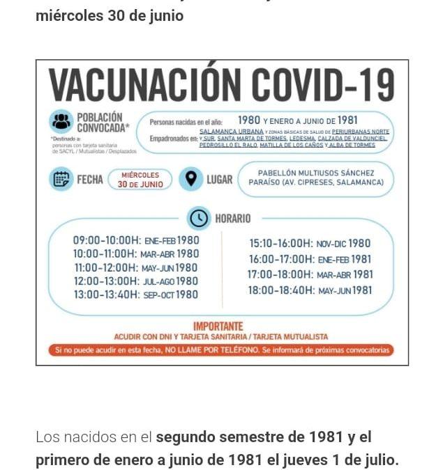 Aviso para las vacunaciones de personas nacidas entre 1979 y junio de 1982