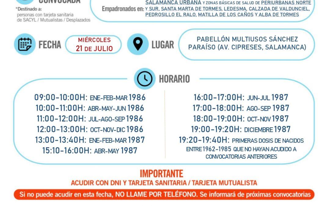 Aviso de vacunación para personas nacidas en el año 1986 y 1987