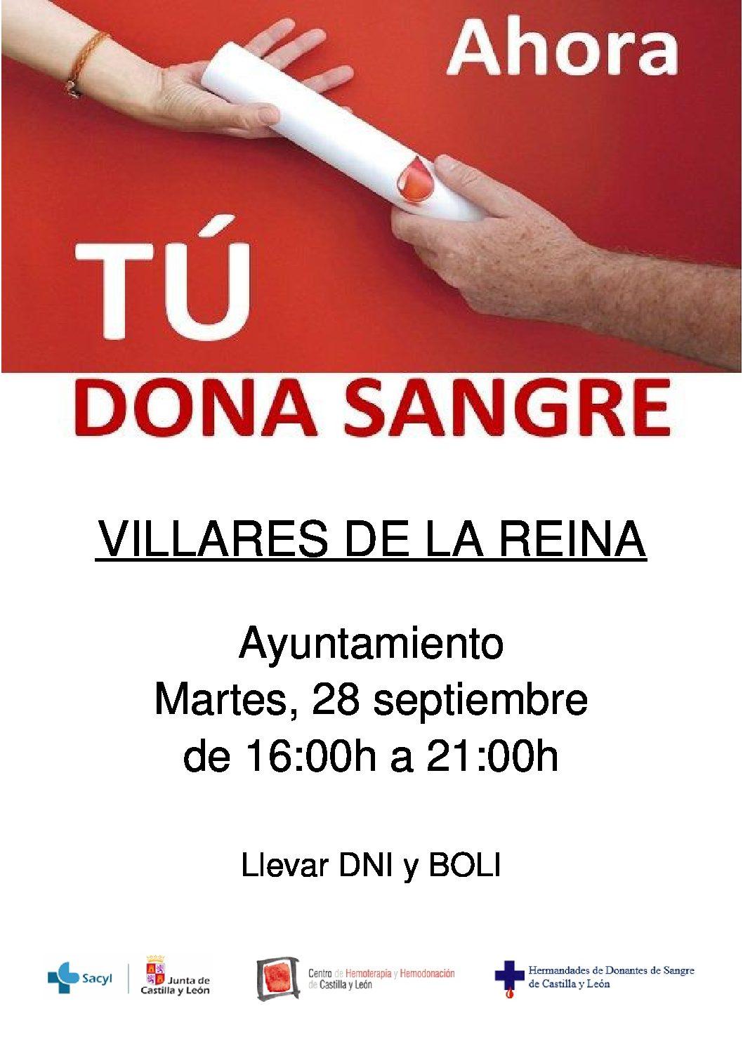 Donación de sangre para el martes 28 de septiembre