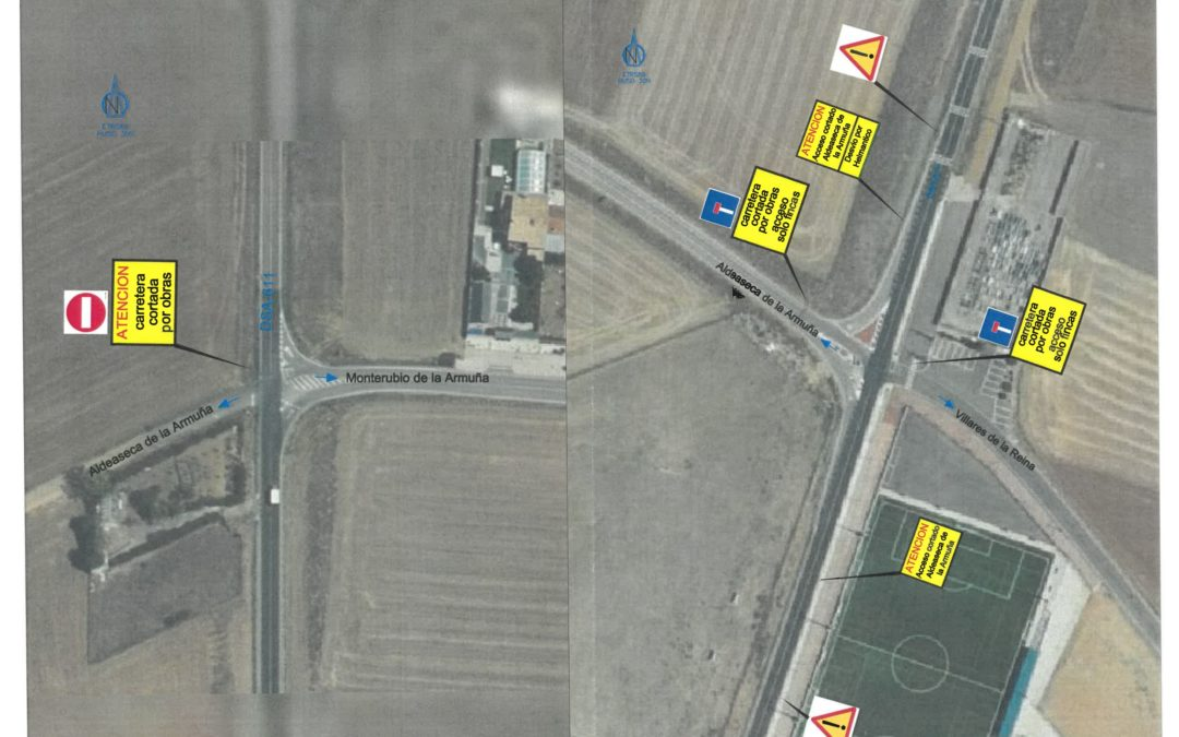 Corte en la carretera que une Villares con Aldeaseca